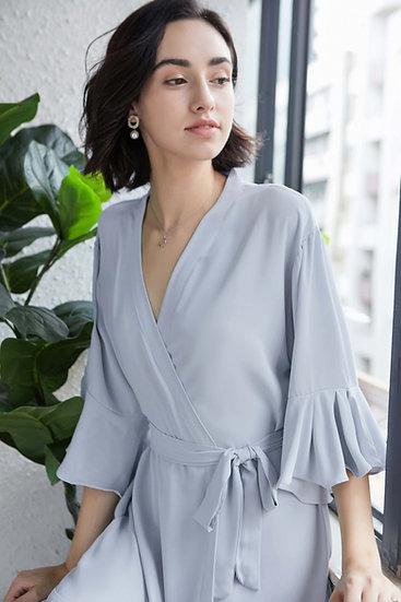 Dusty Blue Ruffle Robe