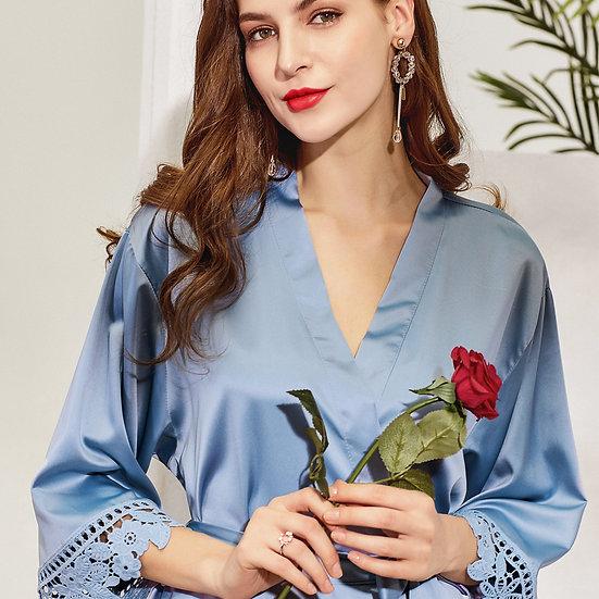 Dusky Blue Lace Rose Robe