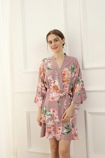 Mauve Floral Ruffle Robe