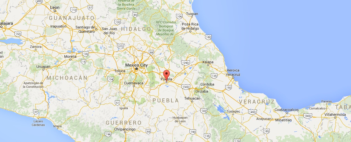map of mexico and puebla