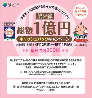 浜松市「第2弾 総額1億円キャッシュバックキャンペーン」への参加のお知らせ