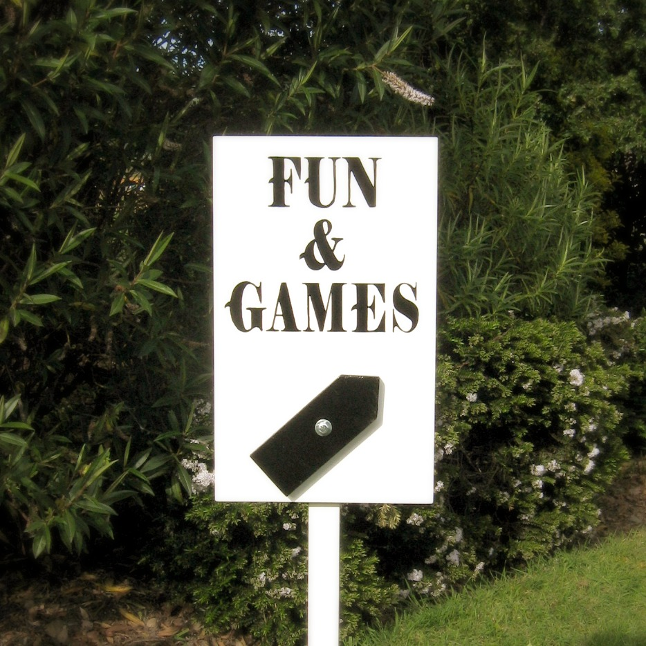 The Cheshire Cat Co Fun & Games Sign