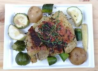 Cerdo al tomillo con vegetales