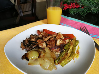 Carne con vegetales grillados