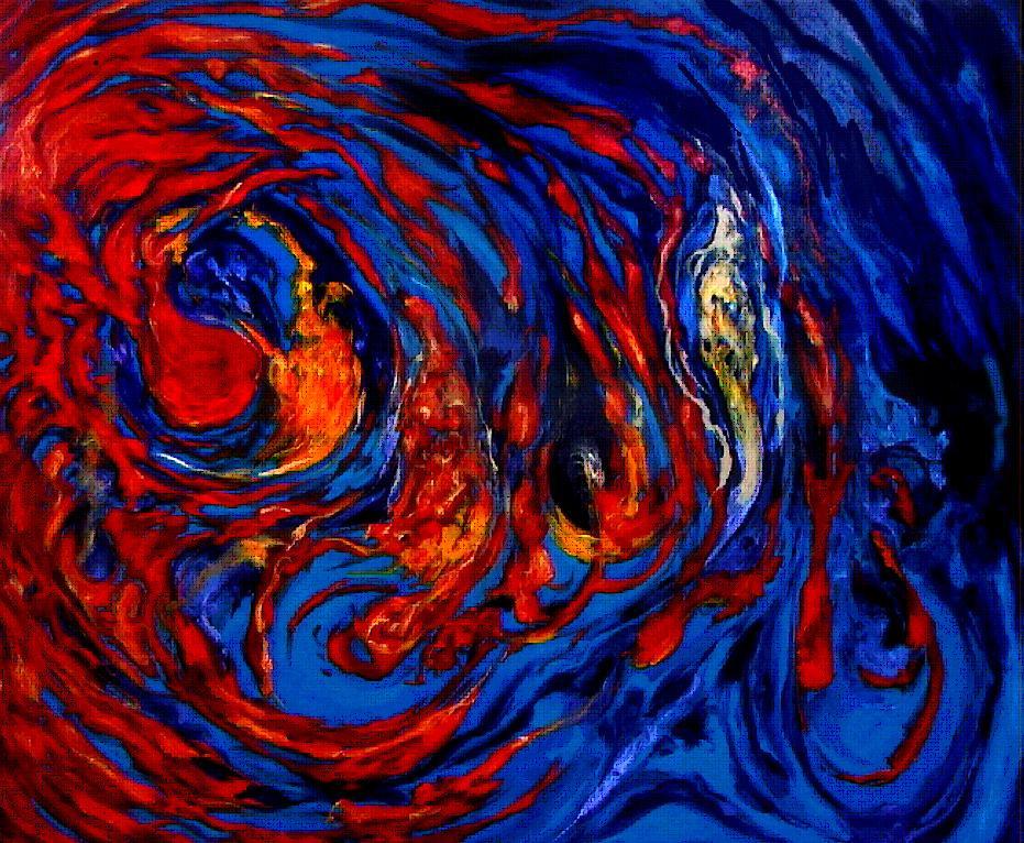 Complemento azul y rojo
