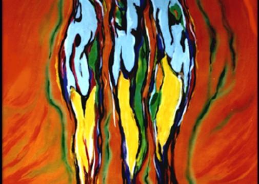 2002. Almas en sosobra 1.80  x 1.80 Oleo