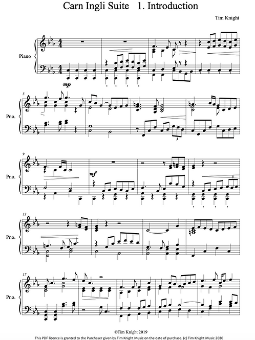 Carn Ingli Suite for Piano (PDF Download)