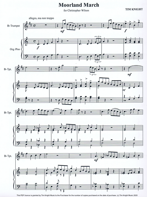 Moorland March for B Flat Trumpet and Organ (PDF Download)