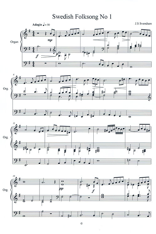 Swedish Folk Tune No 1 for Organ (PDF Download)