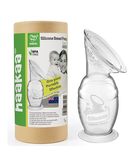 Bomba Coletora de Leite Materno 100% Silicone Com Base Sucção Haakaa 100 ml