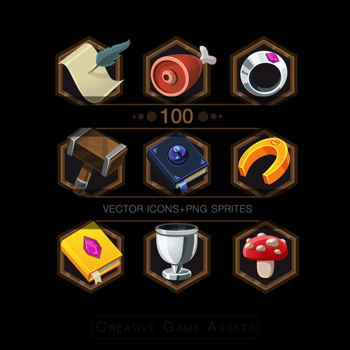GAME UI ICONS ASSETS | 100 ITEMS |