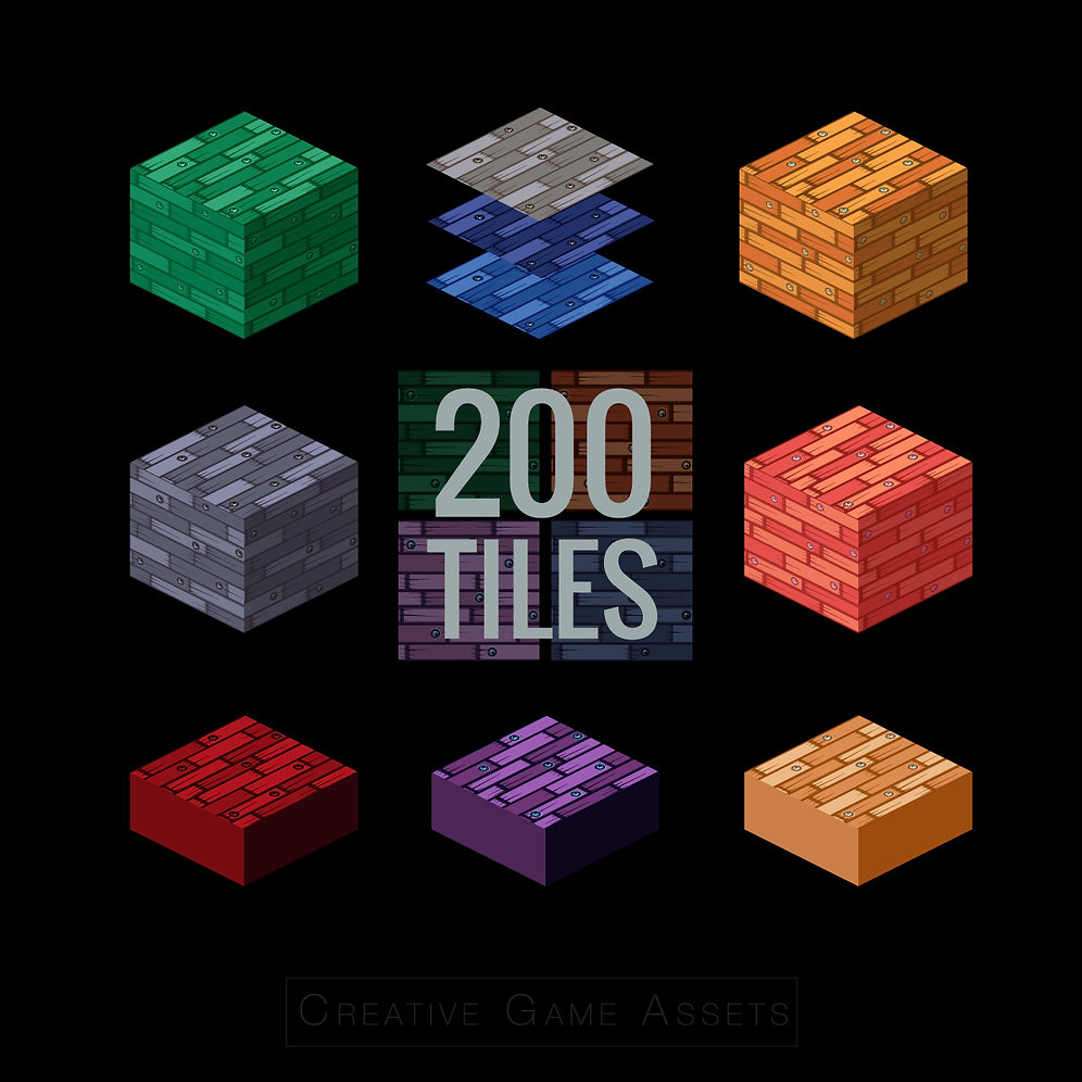 ISOMETRIC AND FLAT WOODEN TILESET 200 TILES AND GAME SPRITES FREE SIZE