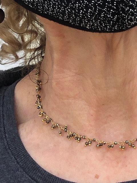 Diamond cut pyrite sparkle necklace