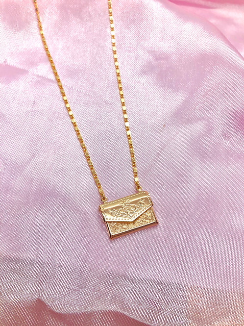 """""""Draco's Envelope"""" Gold Plated Necklace"""