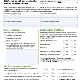 Step by Step guide on how to fill a C100 Child Arrangements Order & Prohibited Steps Order Form?