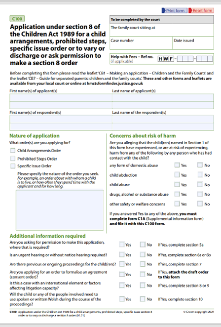 How to fill out part 1 of the c100 form
