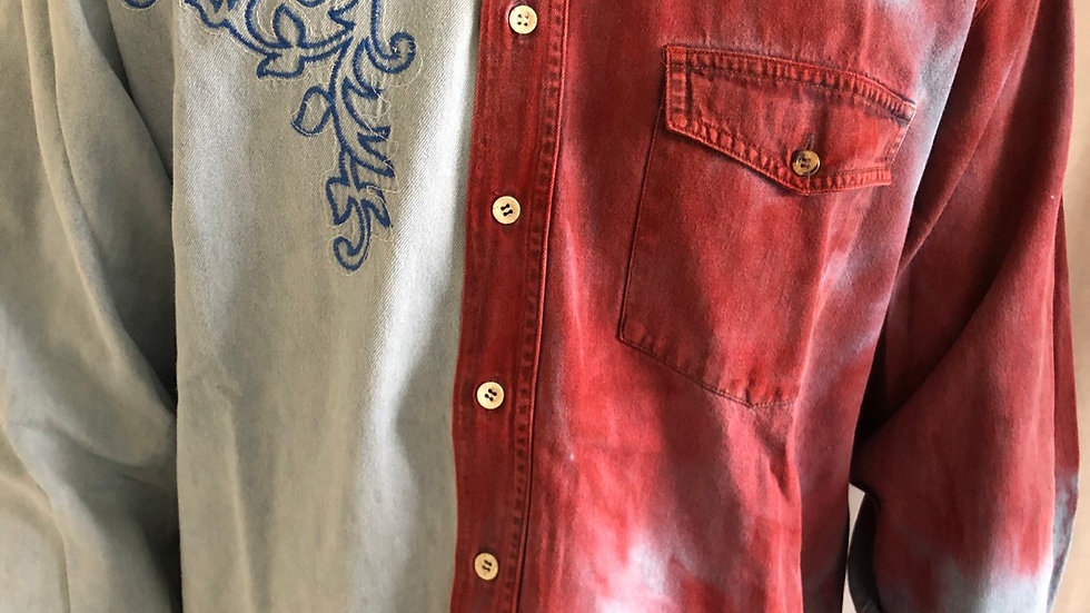Shirt patchwork zonder kraag