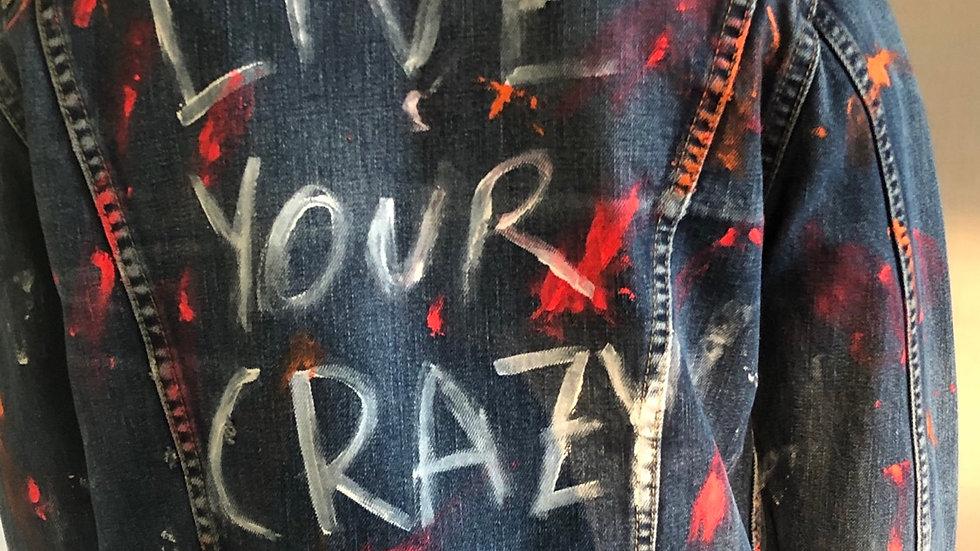 "Vintage  Jeans jacket dames ""Live your crazy life"""
