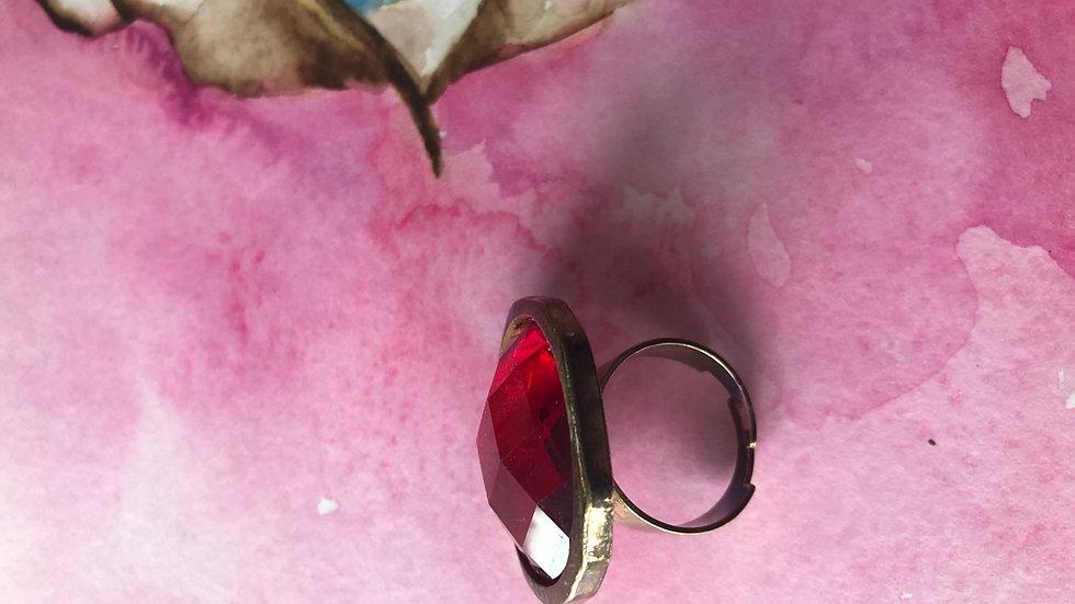 Vintage rode knopring verstelbaar