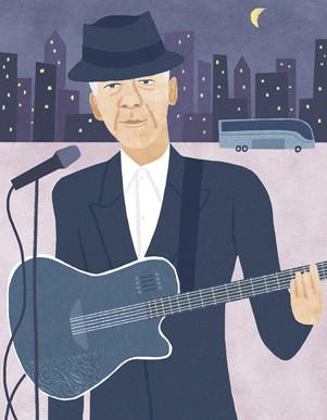 Inc. magazine, illustration, portrait, leonard cohen, tour, music, musician, retirement, entertainment