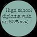 High school diploma with an 82% avg.