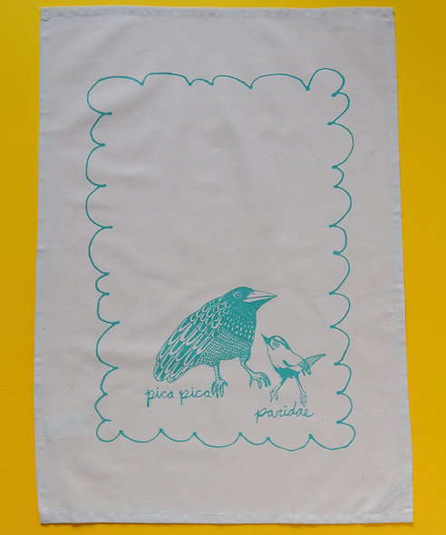 Maggie the magpie and Tilly the tit tea towel