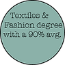 Textiles & Fashion degree with a 90% avg.