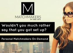 Matchmakers in the city ad with text