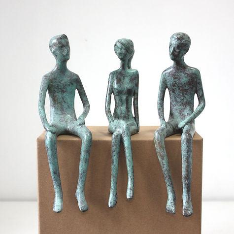 Small Bronze Figures Sculpture CWMT by L