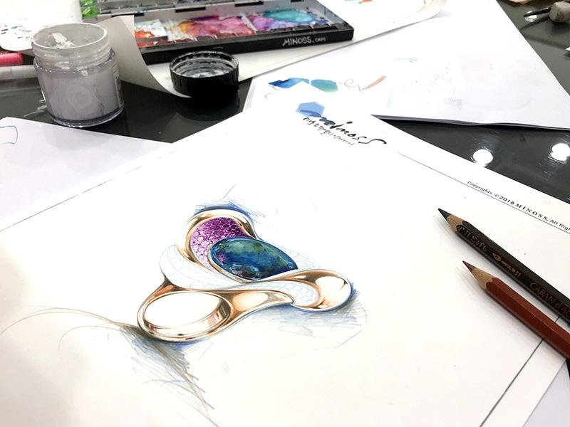 브라질 이카로디자이너의 오팔반지 디자인 렌더링