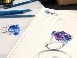 이카로주얼리디자이너의 탄자나이트 원석반지 디자인 렌더링s