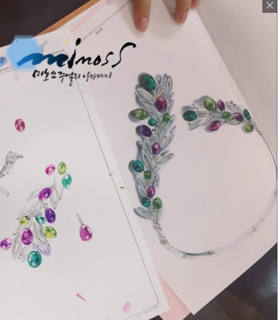 불가리 주얼리디자이너 핸드드로잉 보석채색기법