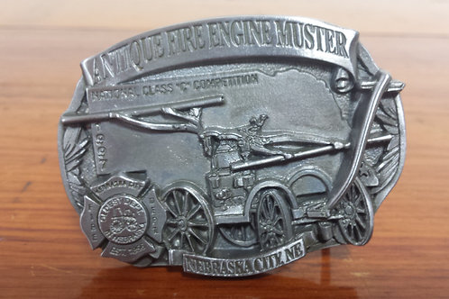 Antique Fire Engine Muster Belt Buckle