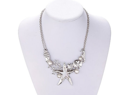 Silver Plated Ocean Themed Fashion Necklace