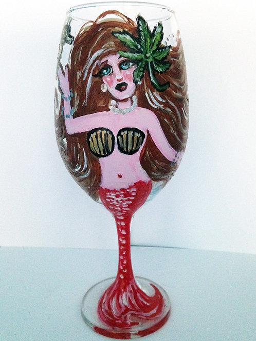 Marijuana Mermaid Wine Glass (brunette)
