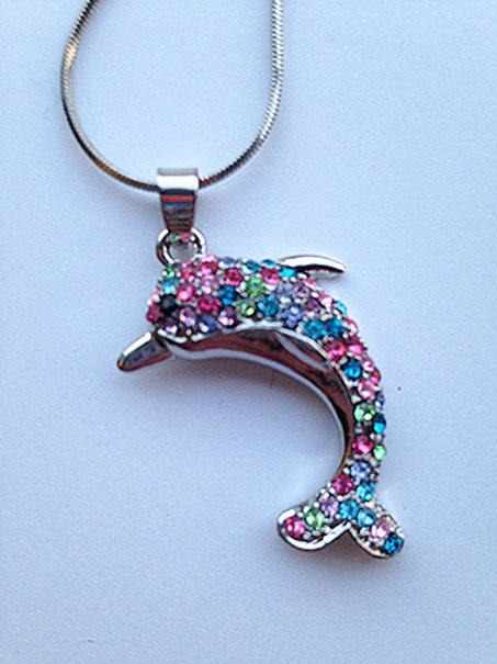 Silver Plated Multi Color Dolphin Pendant