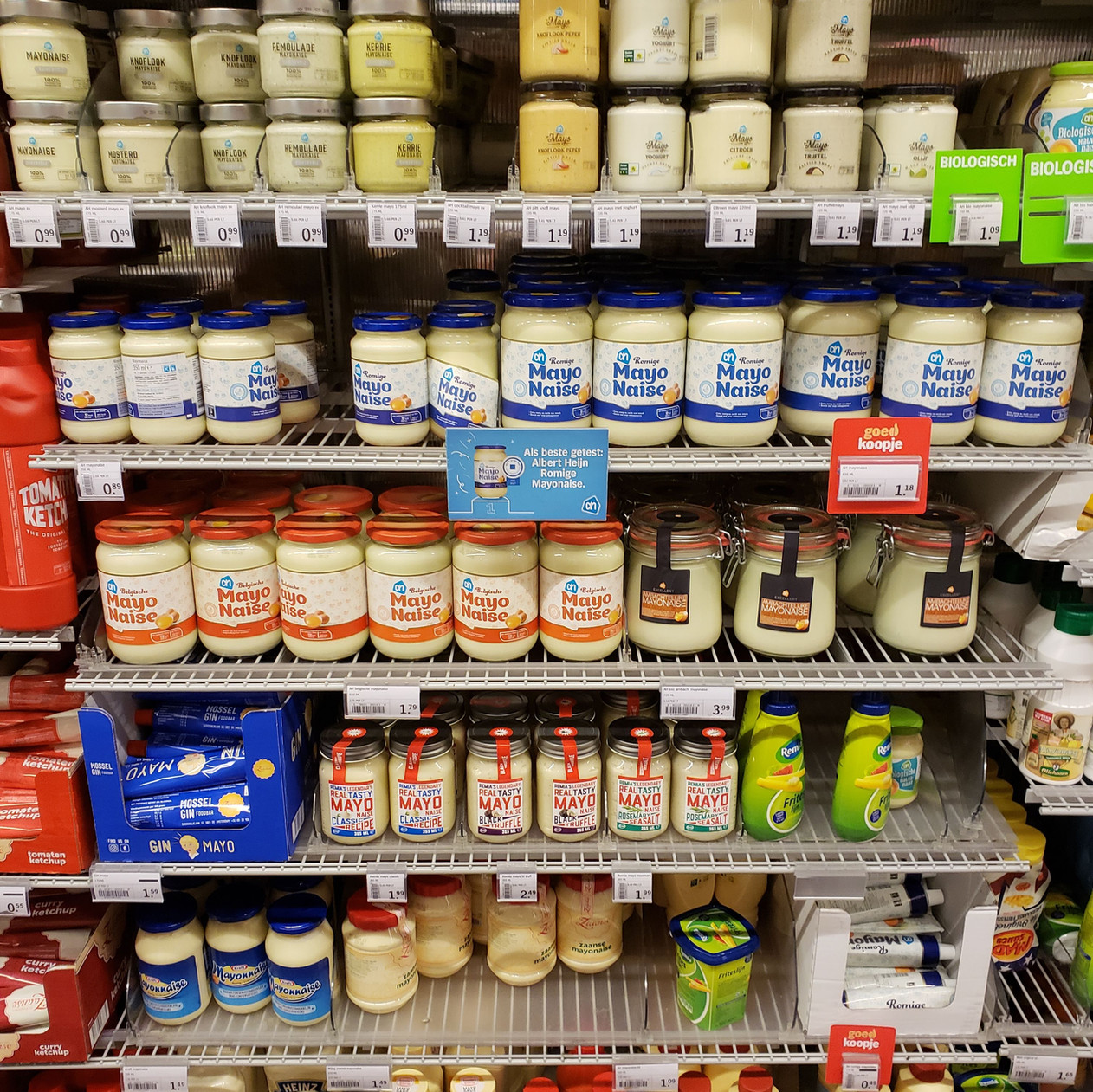 Mayonnaise section at Albert Heijn