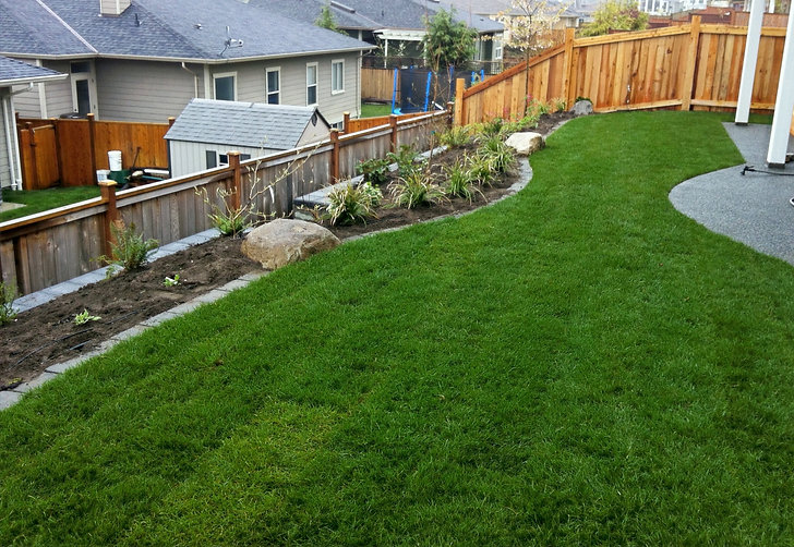 Sloped Lawn and Garden Beds