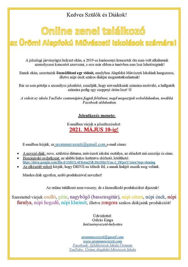 Online zenei találkozó - 2021.04-05. - Ü