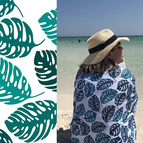 UPF 50+ Sunscreen Towels - Hooded -Palm Leaves