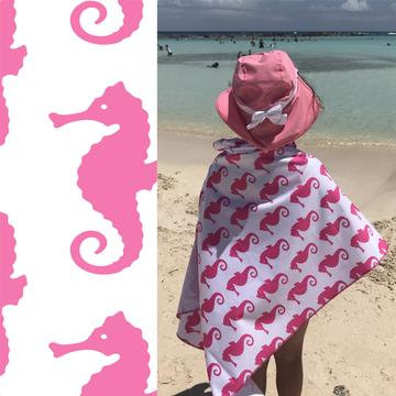UPF 50+ Sunscreen Towel - Hooded - Seahorses