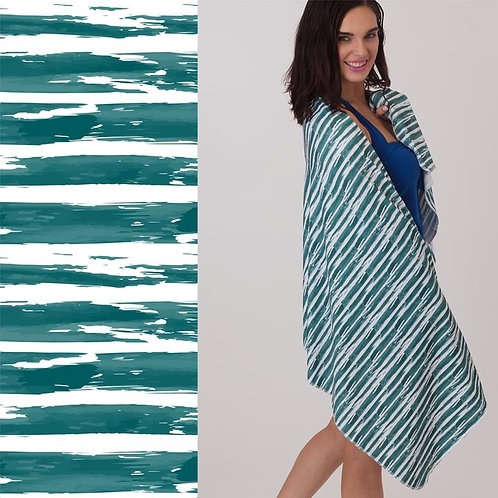 Luv Bug UPF 50+ Sunscreen Towels - Hooded - Teal Brushstroke