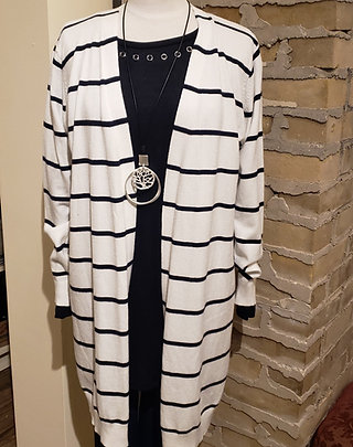 Simi White and Navy Striped Cardigan