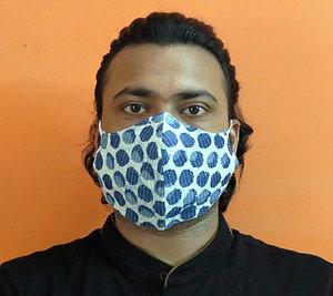 2-Layered Indigo Polka Mask