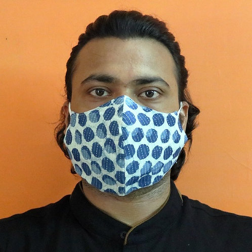 2-Layered Indigo Polka Mask