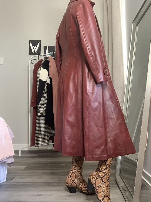 Merlot Leather Trench
