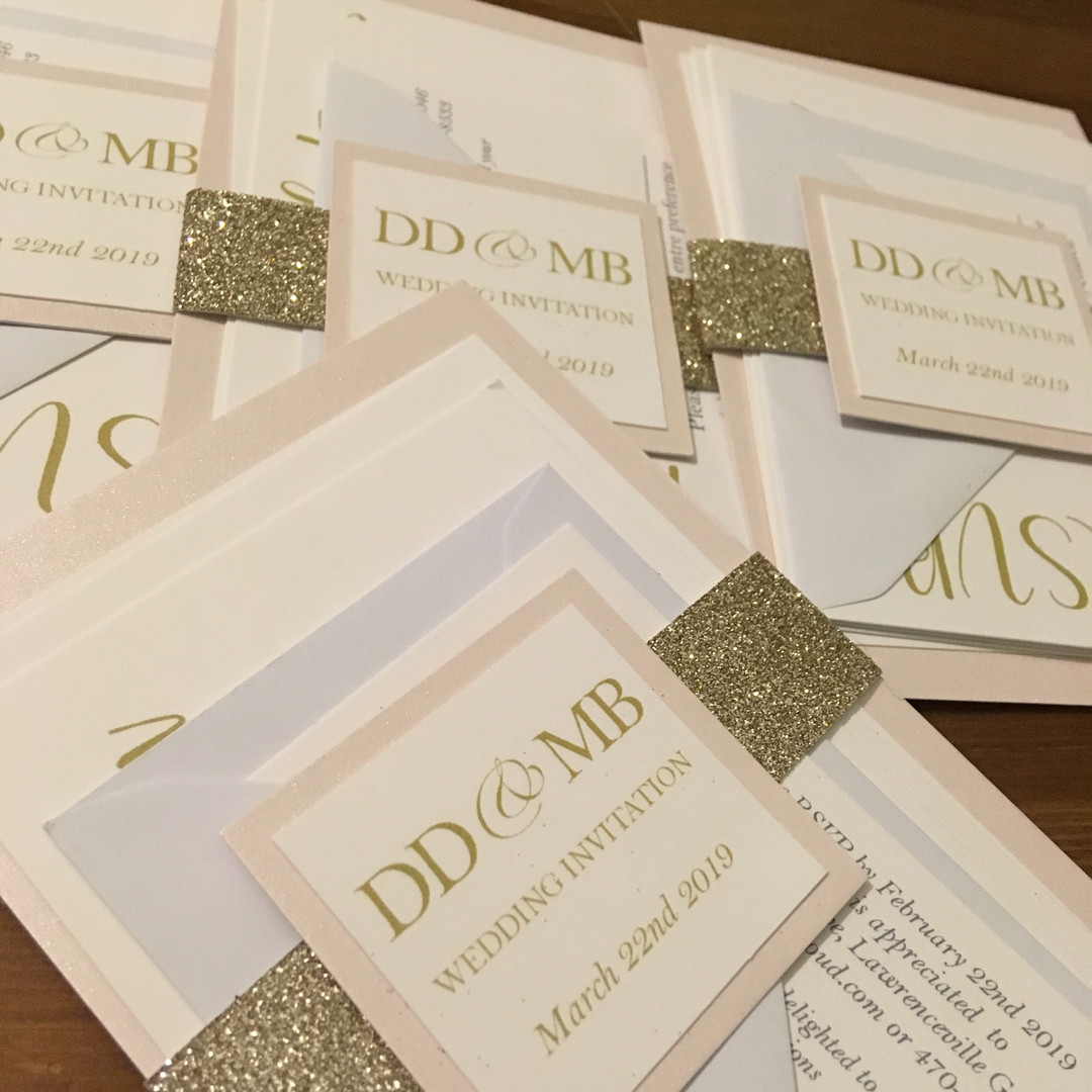 Glitter sleeve invitations