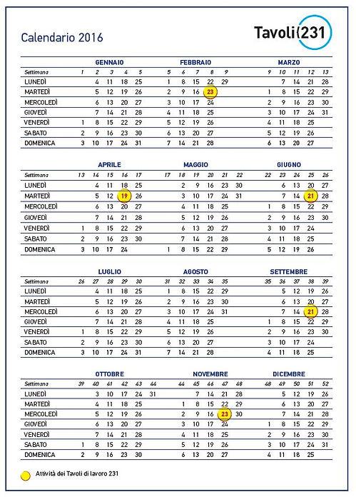 Tavoli 231 calendario appuntamenti 2016