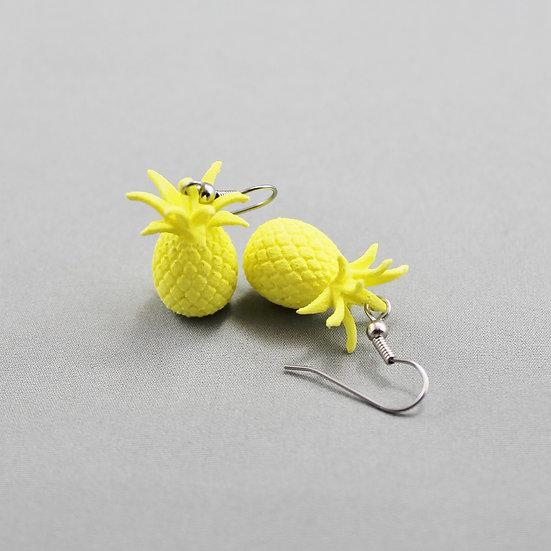 3D Printed Pineapple Earrings Neon Yellow