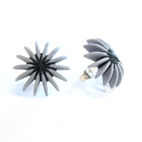 Ear Lollies Studs Grey & Black Thread